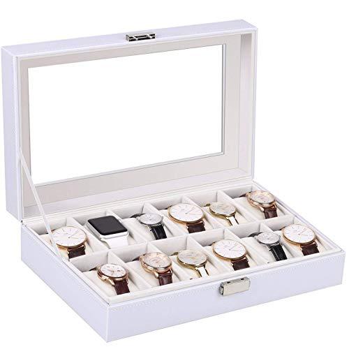amzdeal Watch Box 12 Slots White Watch Storage Case