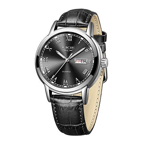 LIGE Men Casual Fashion Quartz Watch Roman Numeral