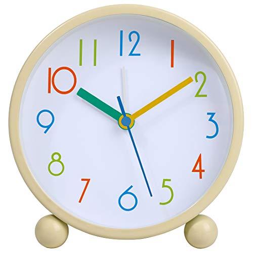 Colorful Kids Analog Alarm Clock,4 inch Simple Stylish