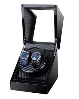 Kalawen Double Wooden Watch Winder for Automatic with Quiet Motor