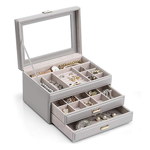 Watch Box Organizers with Glass Display Top