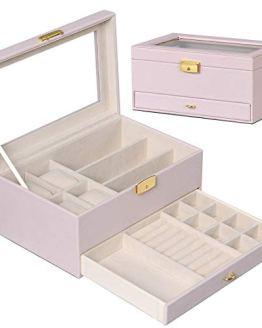 Jewelry Organizer Box for Women with Glass Top