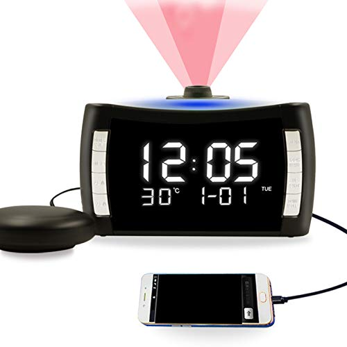 Projection Alarm Clock on Ceiling with Vibration