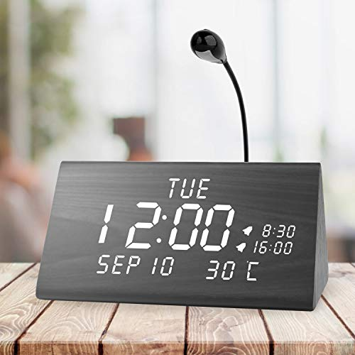 Wood Digital Dual Alarms Clocks