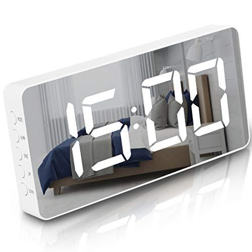 Digital Alarm Clock Large Mirrored LED Display Snooze Function