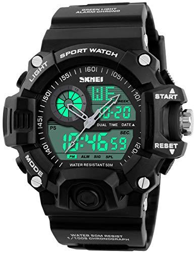 Mens Analog Digital Dual Display Sports Watches Military