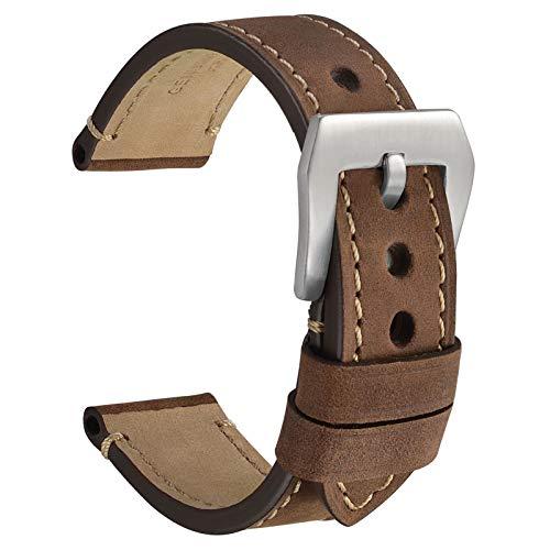 WOCCI 18mm Watch Band, Dark Brown Saddle Style