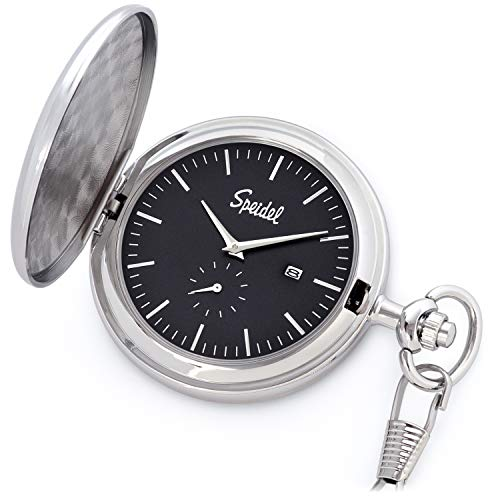 "Speidel Classic Brushed Engravable Pocket Watch with 14"" Chain"