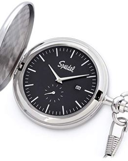 """Speidel Classic Brushed Engravable Pocket Watch with 14"""" Chain"""