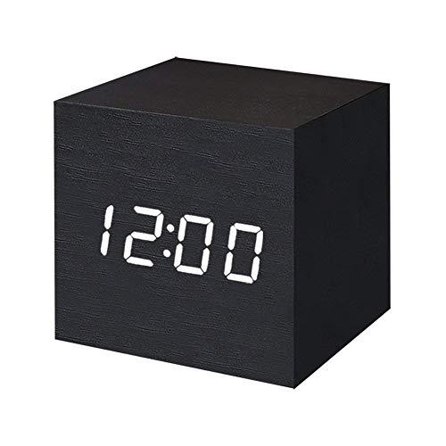 T&F Digital Alarm Clock Wooden LED Light Multifunctional