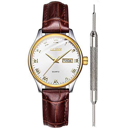 White Ladies Wrist Watch Brown Leather Waterproof