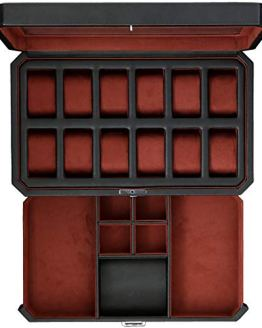 12 Slot Leather Watch Box with Valet Drawer