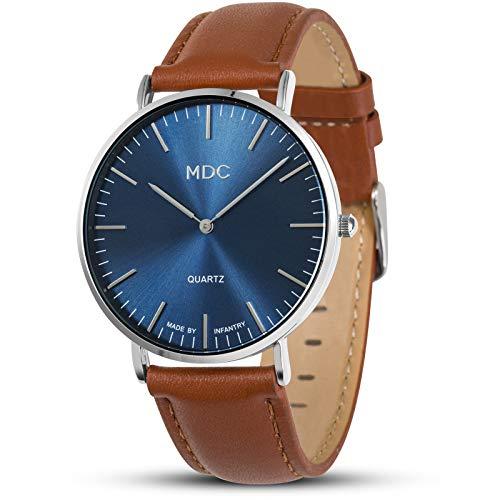 MDC Mens Brown Leather Watch Minimalist Wrist