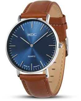 MDC Mens Brown Leather Watch Minimalist Wrist