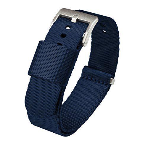 Buckle Seat Belt Nylon Watch Band 20mm Navy Blue