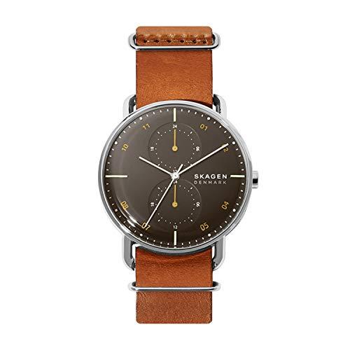 Brown Skagen Leather Watch Analog Stainless Steel