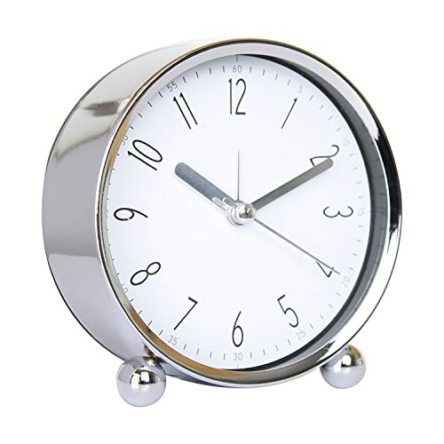 Bedside Alarm Clock Non-tick Round Silent Analog