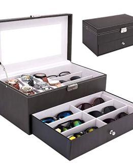 Homde Sunglasses Case Watch Box Jewelry Organizer