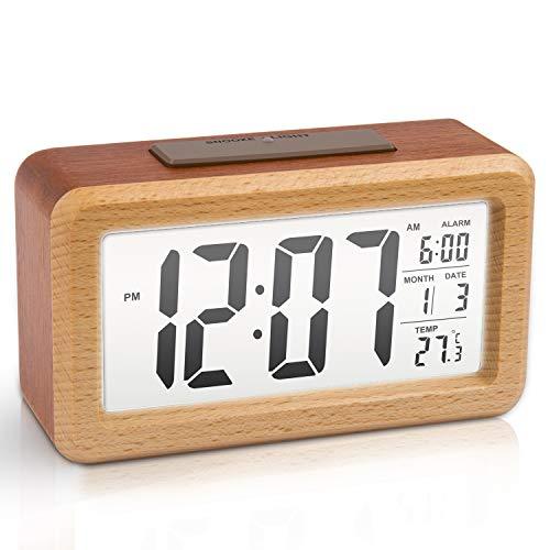 Large LCD Digital Alarm Clock Wooden