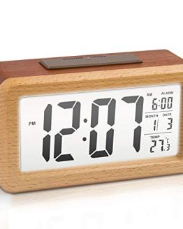 Large LCD Digital Alarm Clock Wooden
