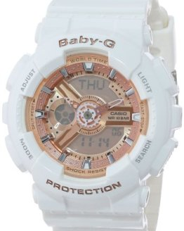 Rose Gold Analog-Digital Watch with White Resin Band Casio