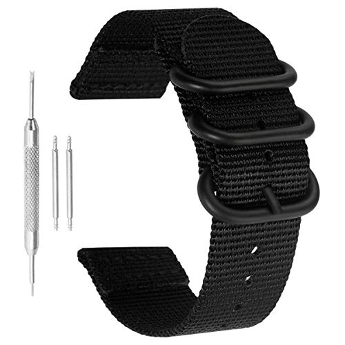 NATO Style Nylon Perlon Watch Bands Strap 22mm Black