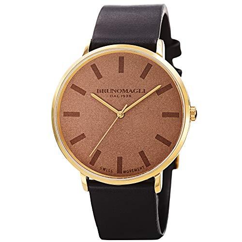 Bruno Magli Unique Black and Brown Italian Leather Dial Strap Watch
