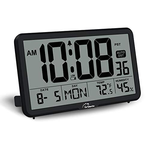 WallarGe Digital Wall Clock, Autoset Desk Alarm Clock