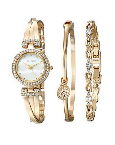 Anne Klein Swarovski Crystal-Accented Gold-Tone Bangle Watch
