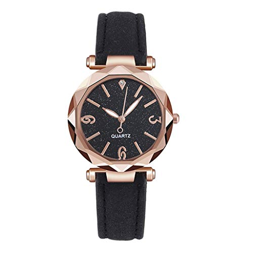 Wrist Watch Dial Leather Strap Ladies Black