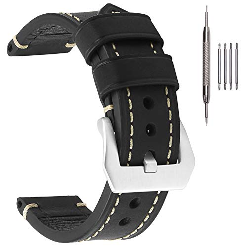 20mm Black-Silver Leather Watch Band
