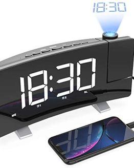 White LightBiz Projection Alarm Clock