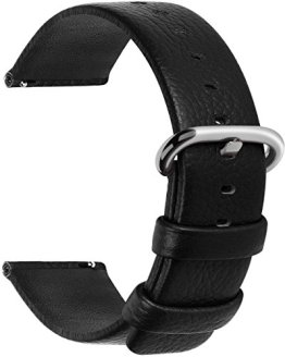 Quick Release Genuine Leather Watch Strap 20mm Black