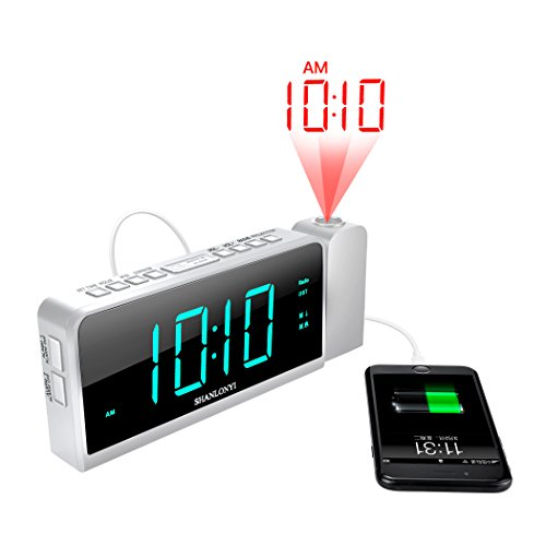 Projection Digital Alarm Clock with USB Phone Charger