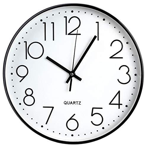 Black Frame Non Ticking Quartz Wall Clock