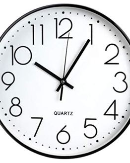 Black Frame Non Ticking Quartz Wall Clock