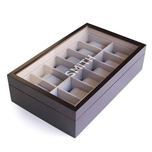 Espresso Wooden Watch Box Organizer with Glass Display Top