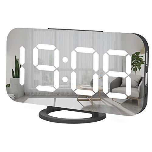 Digital Alarm Clock,Large Mirrored LED Clock,Snooze
