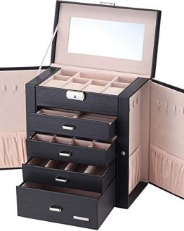 Homde Synthetic Leather Huge Jewelry Box Mirrored Watch