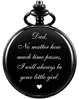 Pocket Watch Father Chain Engraved Black