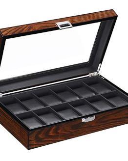 Watch Box Organizer Display Case Leather Interior