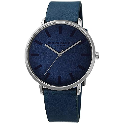 Bruno Magli Unique Light Blue Italian Leather Dial Strap Watch