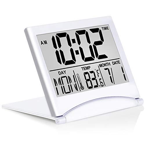 Digital Travel Alarm Clock Foldable Calendar Temperature Timer