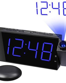 Loud Alarm Clock with Bed Shaker, Projection Alarm Clock for Bedroom