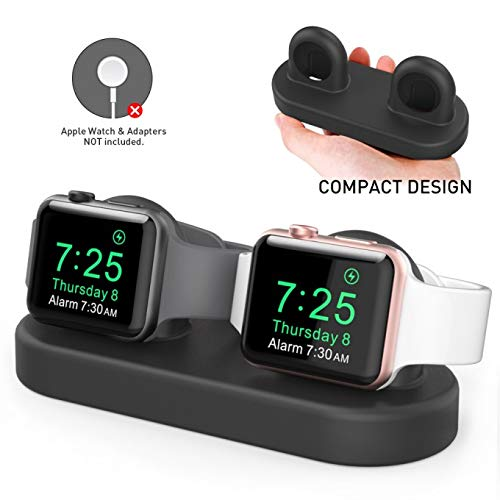 Dual iWatch Charging Stand Dock Silicone with Apple Watch Series
