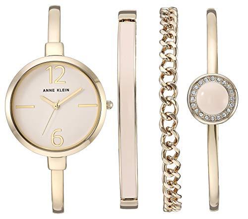 Gold-Tone Bangle Watch and Swarovski Crystal Accented Bracelet Set