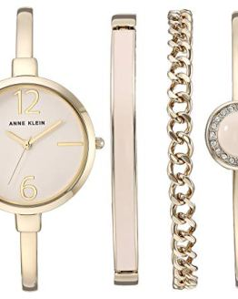 Gold-Tone Bangle Watch and Swarovski Crystal Accented Bracelet Set