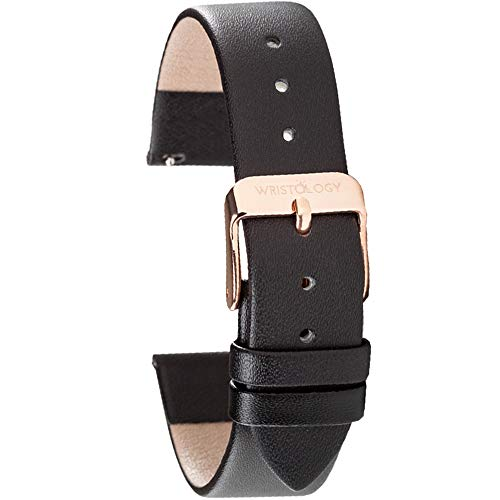Wristology Black Leather 18mm Watch Band - Quick Release