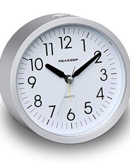 Round Silent Analog Alarm Clock Non Ticking, Gentle Wake