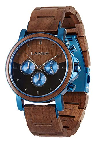 LAiMER Wooden Watch with Luminous Hands, 24h Display